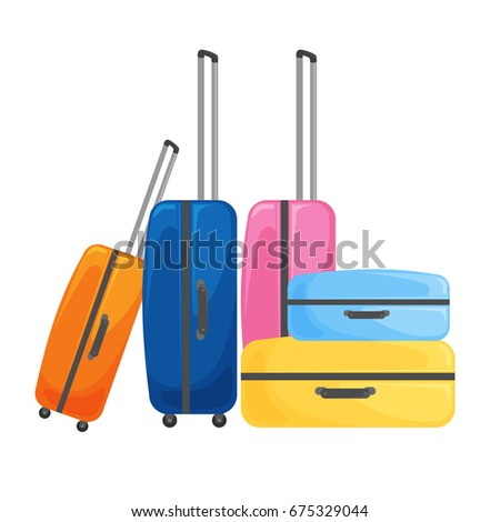 modern suitcase on wheels for traveling and business trips. Vector illustration.