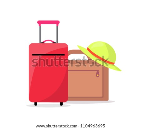 Modern suitcases and summer hat ready to travel. Baggage prepared for departure. Vacation abroad accessories isolated cartoon vector illustration.