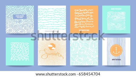 Modern summertime templates: business flyer, art poster, party invitation, business card, banner. Artistic collection: hand drawn abstract textures, paint dabs, thin line graphic icon and lettering.