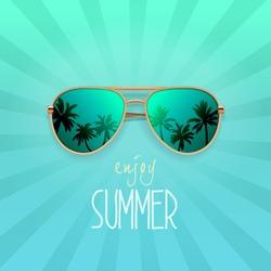 Modern sunglasses with palms reflection. Summer banner, poster, fresh, modern, advertisement