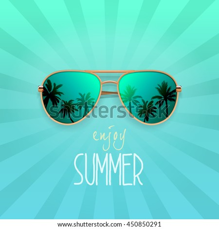 modern sunglasses with palms