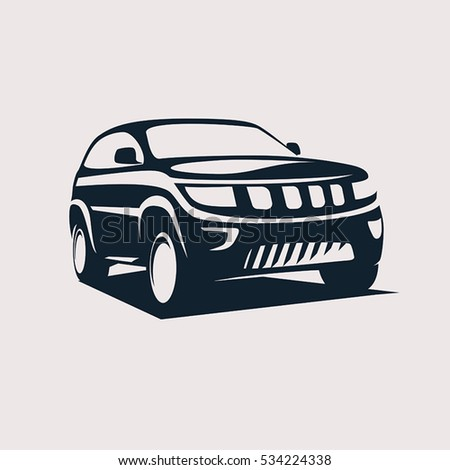 modern suv logo template, offroader car stylized vector silhouette.