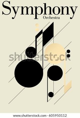 Modern symphony orchestra template. Vector Illustration.