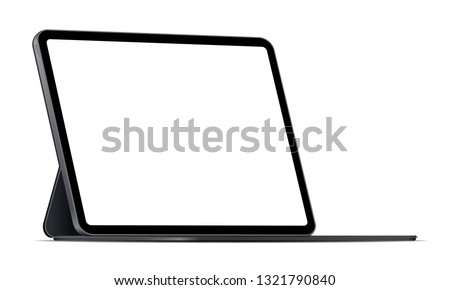 Modern tablet computer stand with blank screen isolated on white background - side view. Vector illustration