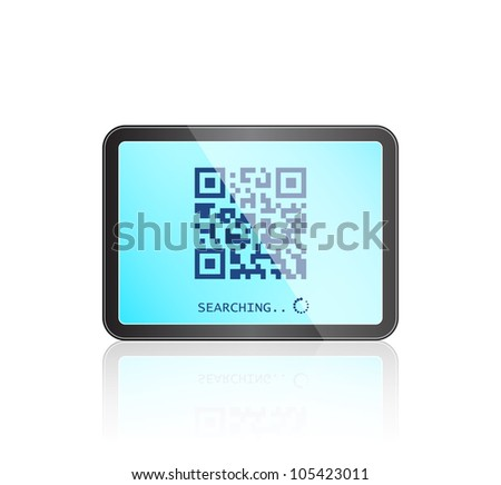 Modern Tablet Gadget with QR code on Touch Screen. Vector IT Illustration
