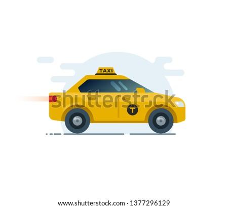 Modern taxi car, side view, sedan. Flat illustration