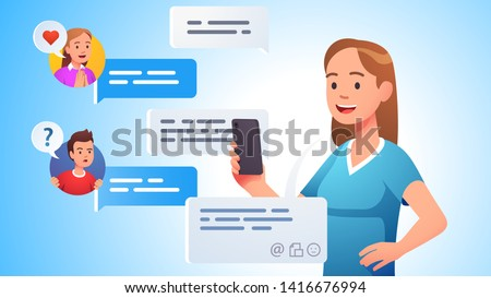 Modern team communication. People group chatting messaging using chat app or social network on mobile phone. Conference cellphone conversation person sending messages. Flat vector concept illustration