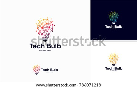 Modern Tech Bulb logo designs concept, Pixel Technology Bulb Idea logo template