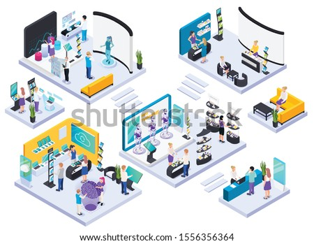 Modern technical electronic innovative production exhibition halls concept isometric composition with demonstration and promotion stands vector illustration