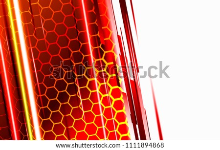 Stock Photo Modern technological background in the style of bee honeycombs. Bright orange and yellow glow from the hexagon. Ideal for web banners, blogs, posters, postcards, cover design and movie backdrops.