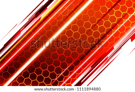 Modern technological background in the style of bee honeycombs. Bright orange and yellow glow from the hexagon. Ideal for web banners, blogs, posters, postcards, cover design and movie backdrops.