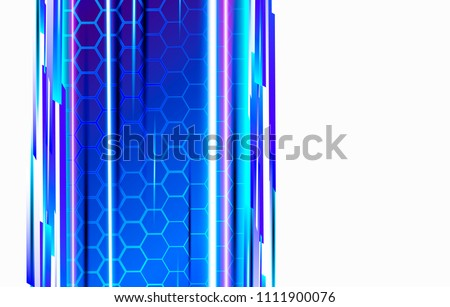 Stock Photo Modern technological background in the style of bee honeycombs. Bright violet and blue glow from the hexagon. Ideal for web banners, blogs, posters, postcards, cover design and movie backdrops.