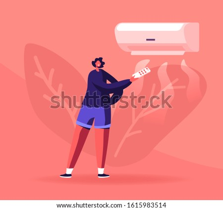 Modern Technologies and Smart Home Devices Concept. Happy Woman Controlling Temperature Condition in Apartment Using Remote Control for Air Conditioner. Cartoon Flat Vector Illustration