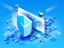 Modern technologies, security and data protection, payment security, finance and contributions, information. Vector isometric Illustration design, infographics elements.