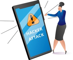 Modern technology cyber security protection, criminal attack to mobile phone, woman frighten flat vector illustration, isolated on white. Hacker crack debit banking virtual card, steal personal data.