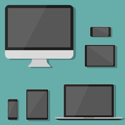Modern technology device in a flat design. Monitor, laptop, tablet, smartphone