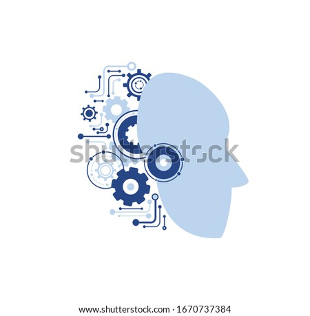 modern technology icon: machine learning,  artificial intelligence,  gear face android