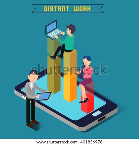 Modern Technology. Isometric People. Man with Laptop. Vector illustration