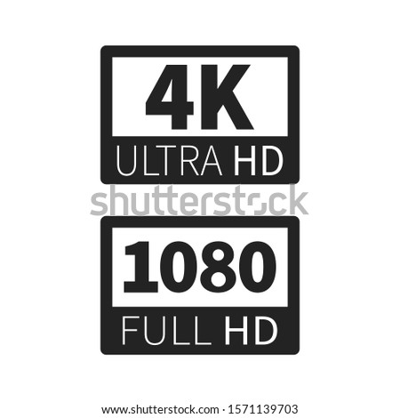 Modern technology signs. 4k ultra hd and 1080 fullhd dimensions of video.Vector illustration.