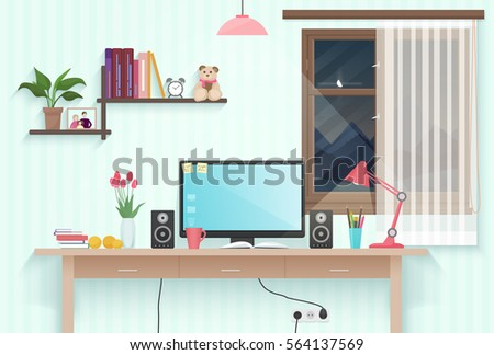 modern teenager girl room with