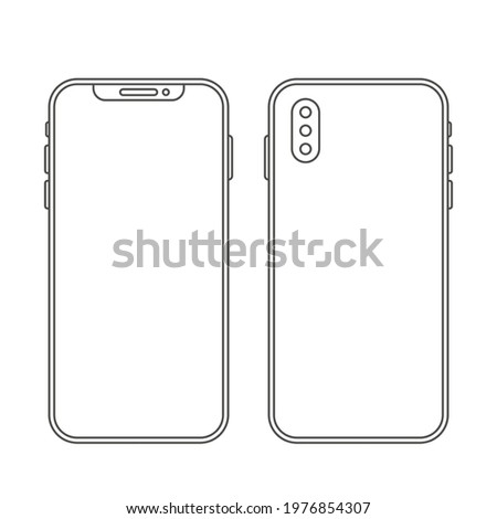modern telephone in a linear style. flat icon of mobile smartphone. vector illustration