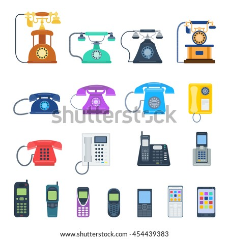 Shutterstock Modern telephones and vintage old retro style phones vector isolated on white background. Blue, yellow, red and black communication tools