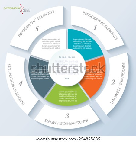Modern template for business project or presentation with circle and five segments. Vector illustration can be used for web design, workflow or graphic layout, diagram, education