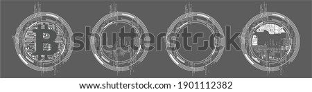 Modern template for design in high-tech style. Circular shapes in circuit board style including bitcoin visual. Vector Illustration