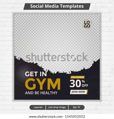 Modern template web and banner post for social media ad, design for fitness and gym ads