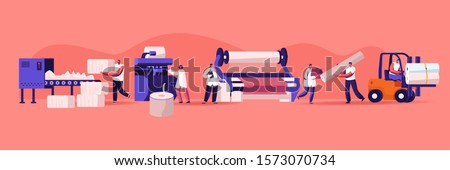 Modern Textile Factory. Automated Machine for Yarn Producing. Manufacturing of Cotton Fibers Wrapping Machine Screwed on Big Shaft. Forklift Shipping. Plant Equipment. Cartoon Flat Vector Illustration