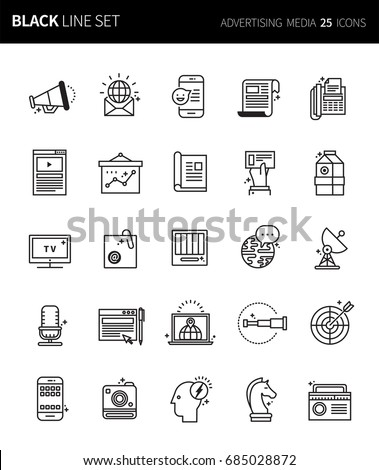 Modern thin black line icons set of advertising media. Premium quality outline symbol set. Simple linear pictogram pack. Editable line series - Shutterstock ID 685028872