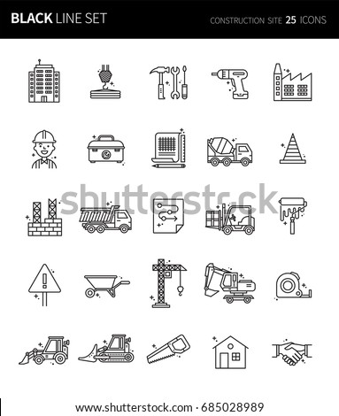 Modern thin black line icons set of construction site. Premium quality outline symbol set. Simple linear pictogram pack. Editable line series