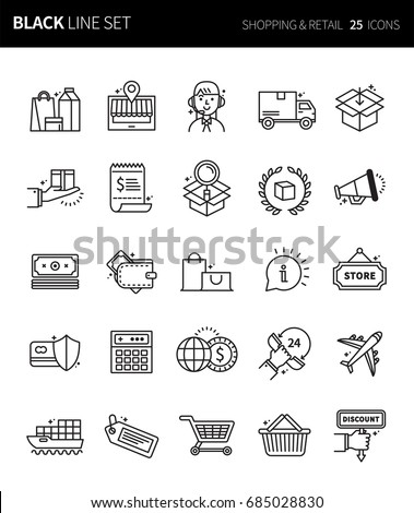 Modern thin black line icons set of shopping & retail. Premium quality outline symbol set. Simple linear pictogram pack. Editable line series