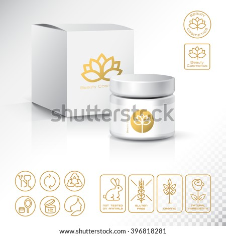 Modern Thin Contour Line Icons Set of Natural Cosmetics Packaging. Gluten free, organic product, not tested on animals.  Lotus blossom logos and Identity Style for Beauty Salon.  Flat design. Vector