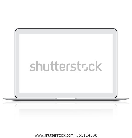 Modern thin laptop isolated on white. Modern glossy laptop isolated on white vector eps10. Blank screen. Realistic laptop on a white background. Realistic Open Laptop with white Screen.