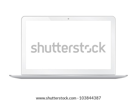Modern thin laptop isolated on white - Vector