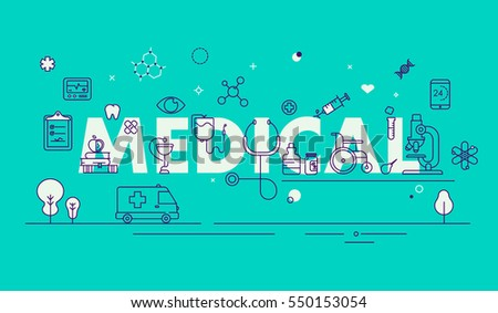 Modern Thin Line  Design Composition for Medical Web Page, Clini, Pharmacy and Hospital Facilities.  .Online Health Check, Medical Diagnosis,Treatment. Medical Research