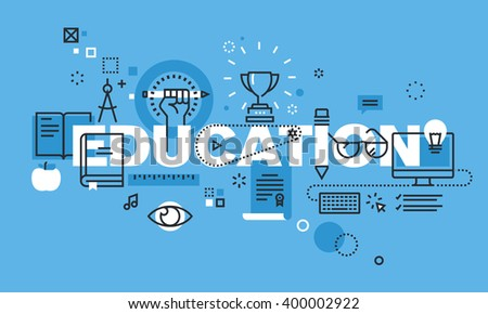 Modern thin line design concept for EDUCATION website banner. Vector illustration concept for school, college and university, education.