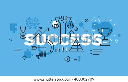 Modern thin line design concept for SUCCESS website banner. Vector illustration for business success, sports achievements, successes in science and various competitions, financial results, consulting.