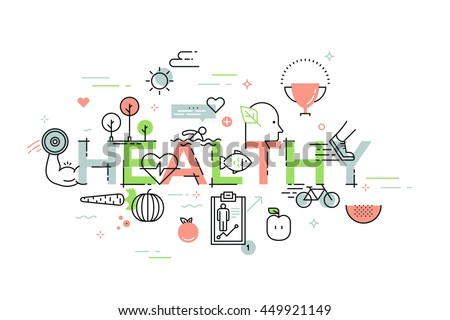 Modern thin line design template for healthy website banner. Vector illustration concept for healthy lifestyle, food, environment and active living. Easy to resize and customise.