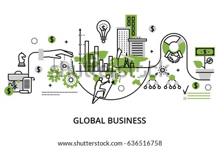 Modern thin line design vector illustration, concept of global business process and finance success in the world, in greenery color, for graphic and web design