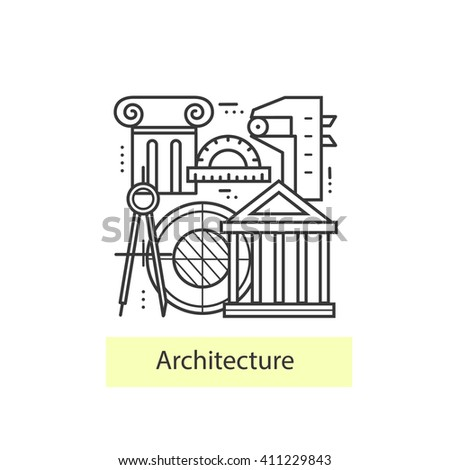 Modern thin line icons architecture.  Concept of a collection of vectors. Architecture Icons symbol set.
