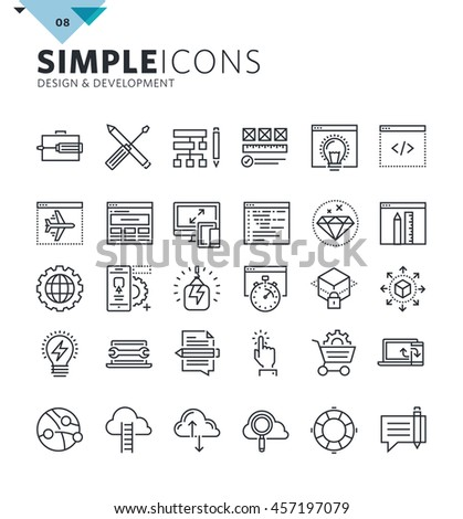 Modern thin line icons of design and development. Premium quality outline symbol collection for web design, mobile app, graphic design. Mono linear pictograms, infographics and web elements pack.