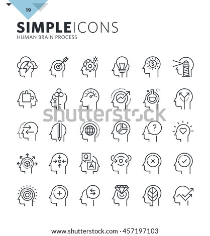 Modern thin line icons of human features and emotions. Premium quality outline symbol collection for web design, mobile app, graphic design. Mono linear pictograms, infographics and web elements pack.