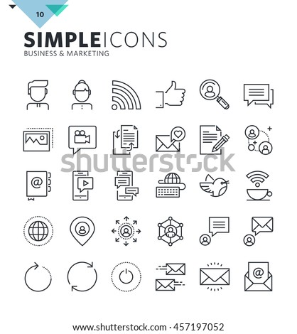 Modern thin line icons of social media and networking. Premium quality outline symbol collection for web and graphic design, mobile app. Mono linear pictograms, infographics and web elements pack.