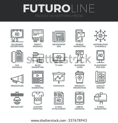 Modern thin line icons set of advertising media channels and ads distribution. Premium quality outline symbol collection. Simple mono linear pictogram pack. Stroke vector logo concept for web graphics