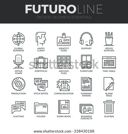 Modern thin line icons set of basic business essential tools, office equipment. Premium quality outline symbol collection. Simple mono linear pictogram pack. Stroke vector logo concept for web graphic