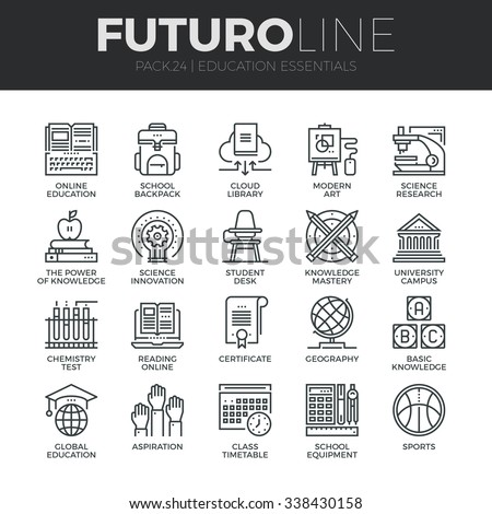 Modern thin line icons set of basic education training and studying online. Premium quality outline symbol collection. Simple mono linear pictogram pack. Stroke vector logo concept for web graphics.
