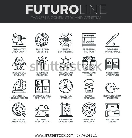 Modern thin line icons set of biochemistry research, biology laboratory experiment. Premium quality outline symbol collection Simple mono linear pictogram pack Stroke vector logo concept, web graphics