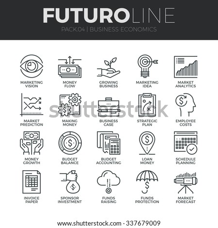 Modern thin line icons set of business economic development, financial growth. Premium quality outline symbol collection. Simple mono linear pictogram pack. Stroke vector logo concept for web graphics #337679009